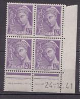 N° 5498  Coins Datés Type Mercure Du 24.12.41 Bloc De 4 Timbres - Esquina Con Fecha