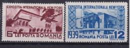 1939 Romania Roumanie - New York Expo 2v., Buildings, Architecture Michel 594/95 Yv. 566/67  MLH - Altre Esposizioni Internazionali