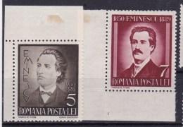 1939 Romania Roumanie - 50 Years Death Mihai Eminescu 2v., Poetry, Journalist, Poeta, Michel 596/97 Yv. 568/69  MLH - Scrittori