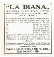 Siena 1930, La Diana Rassegna d'arte e vita senese, inserzione pubblicitaria cm. 10 x 10.