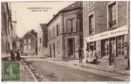 Cpa Crespières - Centre Du Pays - Café De La Poste L. Fortin - Epicerie Mercerie 1923 - Autres Communes