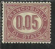 ITALIA REGNO ITALY KINGDOM 1875 SERVIZIO CENT. 5 (0,05) MNH BEN CENTRATO - Servizi
