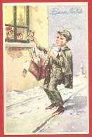 CARTOLINA VG ITALIA - BUON NATALE - Portalettere Sotto La Neve - Postino - Bambini - 9 X 14 - ANNULLO 1957 - Natale