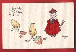 EDIV-32  Joyeuses Pâques, Poussins, Oeuf, Enfant. Illustrateur Carl Diehl. Non Circulé - Pascua