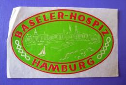 HOTEL PENSION HOSPIZ BASELER HAMBURG GERMANY DEUTSCHLAND TAG DECAL STICKER LUGGAGE LABEL ETIQUETTE AUFKLEBER - Hotel Labels