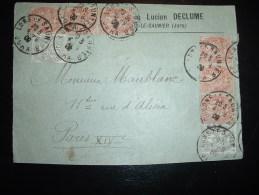DEVANT LETTRE TP BLANC 3C X6 + 1C X2 OBL. 4-9-09 LONS LE SAUNIER JURA (39) LUCIEN DECLUME - 1900-29 Blanc