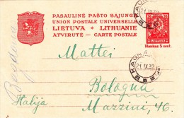 Kauna, Lituania to Bologna intero postale 1932