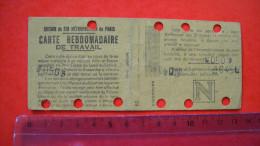 N10. chemin de fer m�tropolitain de paris , carte hebdomadaire de travail . 2 scans .
