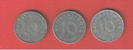 ALLEMAGNE      //   LOT DE 3  X 10 PFENNIG  //  1941 F -1940 A - 1941 D