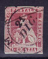 Toskana 1851 Mi.#4 Gestempelt 1 Crazia Rot Gräuliches Papier - Sehr Schön - Toscane