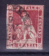 Toskana 1851 Mi.#4 Gestempelt 1 Crazia Rot Gräuliches Papier - Signiert Raybaudi - Toscane