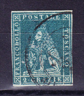 Toskana 1851 Mi.#5 Gestempelt 2 Crazia Blau Gräuliches Papier - Toscane
