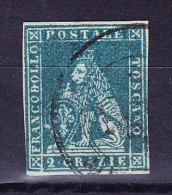 Toskana 1851 Mi.#5 Gestempelt 2 Crazia Blau Gräuliches Papier - Toscana