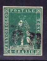 Toskana 1851 Mi.#6 Gestempelt 4 Crazia Grün Signiert Raybaudi - Toscane