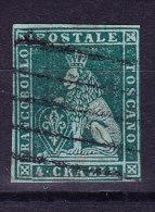 Toskana 1851 Mi.#6 Gestempelt 4 Cr. Grün - Toscane