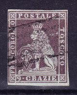 Toskana 1851 Mi.#8 Gestempelt 9 Crazie Braunlila Signiert Raybaudi - Toscane