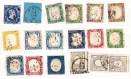 Sardinien Lot Von 16 Briefmarken + 1 Paar Auf Steckkarte Von Mi.# 2 Bis 17 Gestempelt - Italia