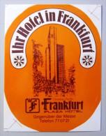 HOTEL PENSION PLAZA HOF FRANKFURT GERMANY DEUTSCHLAND TAG DECAL STICKER LUGGAGE LABEL ETIQUETTE AUFKLEBER BERLIN - Hotel Labels
