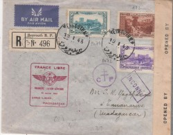 MADAGASCAR  France libre premi�re liaison a�rienne Syrie Liban Madagascar avec censure  22/01/43