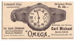 Original Werbung - 1916 - Omega Uhr , Carl Michael In Berlin , Uhr , Uhren , Uhrmacher !!! - Antike Uhren