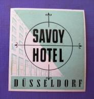 HOTEL PENSION HAUS SAVOY DUSSELDORF GERMANY DEUTSCHLAND DECAL STICKER LUGGAGE LABEL ETIQUETTE AUFKLEBER BERLIN