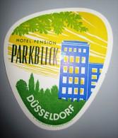 HOTEL PENSION HAUS PARK BLICK DUSSELDORF GERMANY DEUTSCHLAND DECAL STICKER LUGGAGE LABEL ETIQUETTE AUFKLEBER BERLIN
