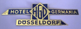 HOTEL PENSION HAUS GERMANIA BLUE DUSSELDORF GERMANY DEUTSCHLAND DECAL STICKER LUGGAGE LABEL ETIQUETTE AUFKLEBER BERLIN - Hotel Labels