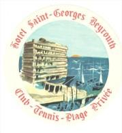 ETIQUETA DE HOTEL  -  HOTEL SAINT-GEORGES  BEYROUTH  -CLUB DE TENNIS
