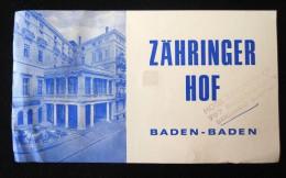 HOTEL PENSION HAUS ZAHRINGER BADEN BADEN GERMANY DEUTSCHLAND DECAL STICKER LUGGAGE LABEL ETIQUETTE AUFKLEBER BERLIN