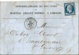 Lettre  -   Enveloppe   -   Départ  Limoges   ,   Destination  Hagetmeau - Postmark Collection (Covers)