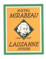 ETIQUETA DE HOTEL  -  HOTEL MIRABEAU  -LAUSANNE  -SUISSE