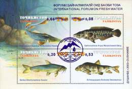 Tajikistan 2003 Mih. 268/71 (Bl.33) International Forum On Fresh Water. Fishes. Overprint MNH ** - Tajikistan