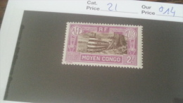 LOT 233783 TIMBRE DE COLONIE CONGO NEUF* N�21 VALEUR 14 EUROS