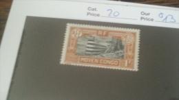 LOT 233784 TIMBRE DE COLONIE CONGO NEUF* N�20 VALEUR 13 EUROS