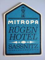 HOTEL PENSION HAUS AUTOBAHN RUGEN SASSNITZ GERMANY DEUTSCHLAND DECAL STICKER LUGGAGE LABEL ETIQUETTE AUFKLEBER BERLIN