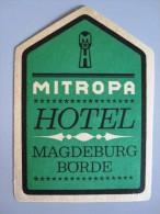 HOTEL PENSION HAUS AUTOBAHN MITROPA MAGDEBURG GERMANY DEUTSCHLAND DECAL STICKER LUGGAGE LABEL ETIQUETTE AUFKLEBER BERLIN