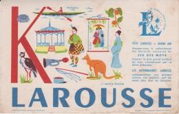 Buvard :  Larousse :  Lettre  :   K - Buvards, Protège-cahiers Illustrés