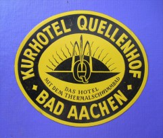 HOTEL PENSION HAUS QUELLENHOF BAD AACHEN GERMANY DEUTSCHLAND DECAL STICKER LUGGAGE LABEL ETIQUETTE AUFKLEBER BERLIN