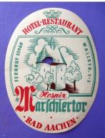 HOTEL PENSION HAUS MARSSCHIERTOR BAD AACHEN GERMANY DEUTSCHLAND DECAL STICKER LUGGAGE LABEL ETIQUETTE AUFKLEBER BERLIN