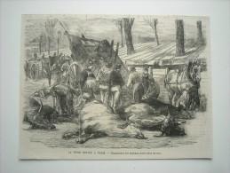 GRAVURE 1871. LA PESTE BOVINE A PARIS. CHARGEMENT DES ANIMAUX MORTS DANS LES RUES.......... - Stampe & Incisioni