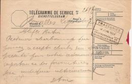XFE-60 A     diensttelegram  BRUXELLES LEGISLATIF   naar  TRAZEGNIES CHARBONNAGES DE COURCELLES NORD