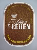 HOTEL PENSION SCHLOSS LEHEN BAD FRIEDRICHSHALL GERMANY DEUTSCHLAND TAG STICKER LUGGAGE LABEL ETIQUETTE AUFKLEBER BERLIN