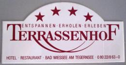 HOTEL PENSION TERRASSENHOF BAD WIESSEE GERMANY DEUTSCHLAND TAG DECAL STICKER LUGGAGE LABEL ETIQUETTE AUFKLEBER BERLIN