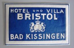 HOTEL PENSION BRISTOL BAD KISSINGEN GERMANY DEUTSCHLAND TAG DECAL STICKER LUGGAGE LABEL ETIQUETTE AUFKLEBER BERLIN