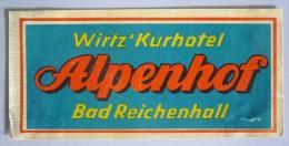 HOTEL PENSION ALPENHOF BAD REICHENHALL GERMANY DEUTSCHLAND TAG DECAL STICKER LUGGAGE LABEL ETIQUETTE AUFKLEBER BERLIN