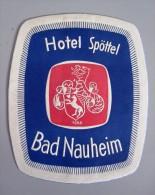 HOTEL PENSION SPOTTEL BAD NAUHEIM GERMANY DEUTSCHLAND TAG DECAL STICKER LUGGAGE LABEL ETIQUETTE AUFKLEBER BERLIN