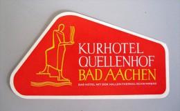HOTEL PENSION QUELLENHOF BAD AACHEN WATER GERMANY DEUTSCHLAND TAG DECAL STICKER LUGGAGE LABEL ETIQUETTE AUFKLEBER BERLIN