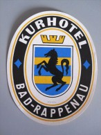 HOTEL PENSION KURHOTEL BAD RAPPENAU GERMANY DEUTSCHLAND DECAL STICKER LUGGAGE LABEL ETIQUETTE AUFKLEBER BERLIN