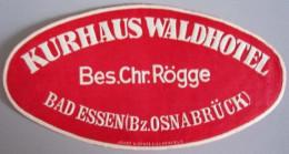 HOTEL PENSION WALDHOTEL BAD ESSEN GERMANY DEUTSCHLAND DECAL STICKER LUGGAGE LABEL ETIQUETTE AUFKLEBER BERLIN