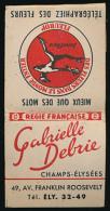 Pochette D´allumettes Gabrielle Debrie, Fleuriste, 49,av. Franklin Roosevelt, Champs-Elysées. Compléte, Superbe état. - Boites D'allumettes
